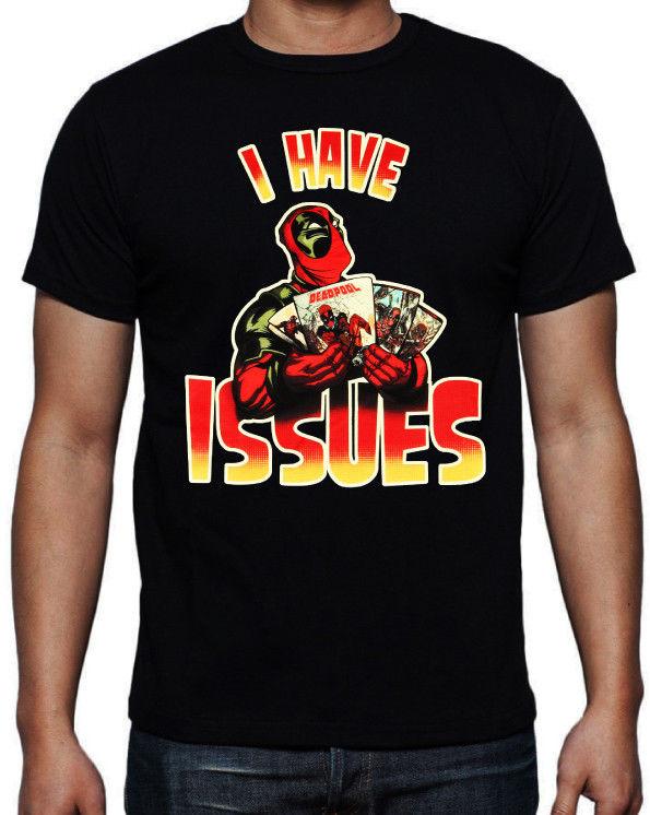 Camiseta negra de Deadpool love you I have Issues con personaje de cómic Action Movie maillot Francia feyenoord ajax vaporwave