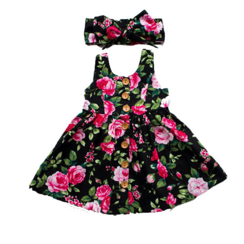 Otoño 2019 Vestido de manga larga para niñas, ropa para niñas, vestido floral con botones, vestido Formal para desfile de bodas, vestido solera ropa