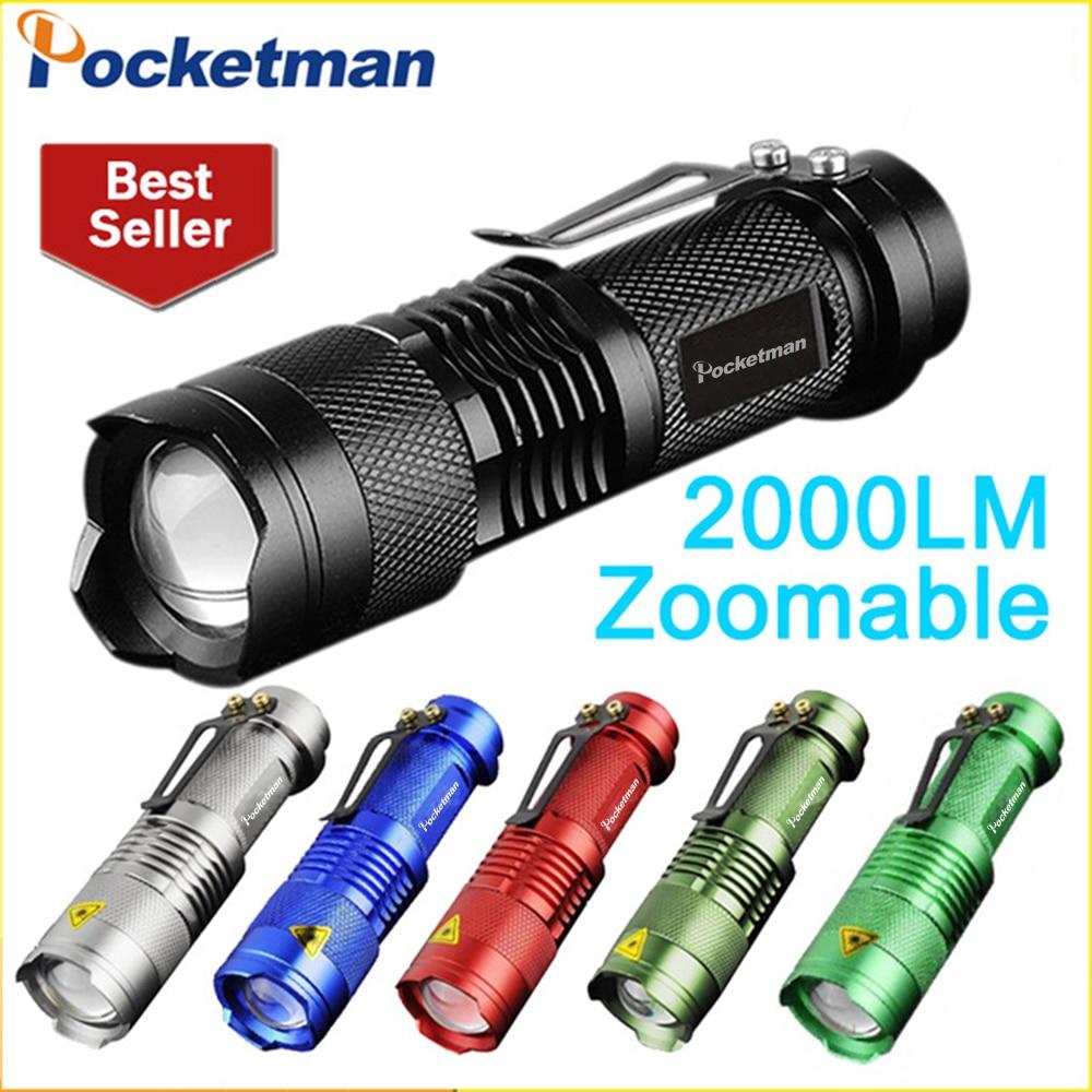 Potente Linterna LED Q5 2000LM mini lámpara De Poche LED Linterna 3 modos De Zoomable portátil antorcha Linterna Led 6 colores