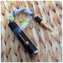 Hifi 스테레오 미니 잭 남성 3.5mm 6.35mm 여성 오디오 케이블 diy 수제 hd650 hd700 hd800 hd598 헤드셋 헤드폰 10 cm