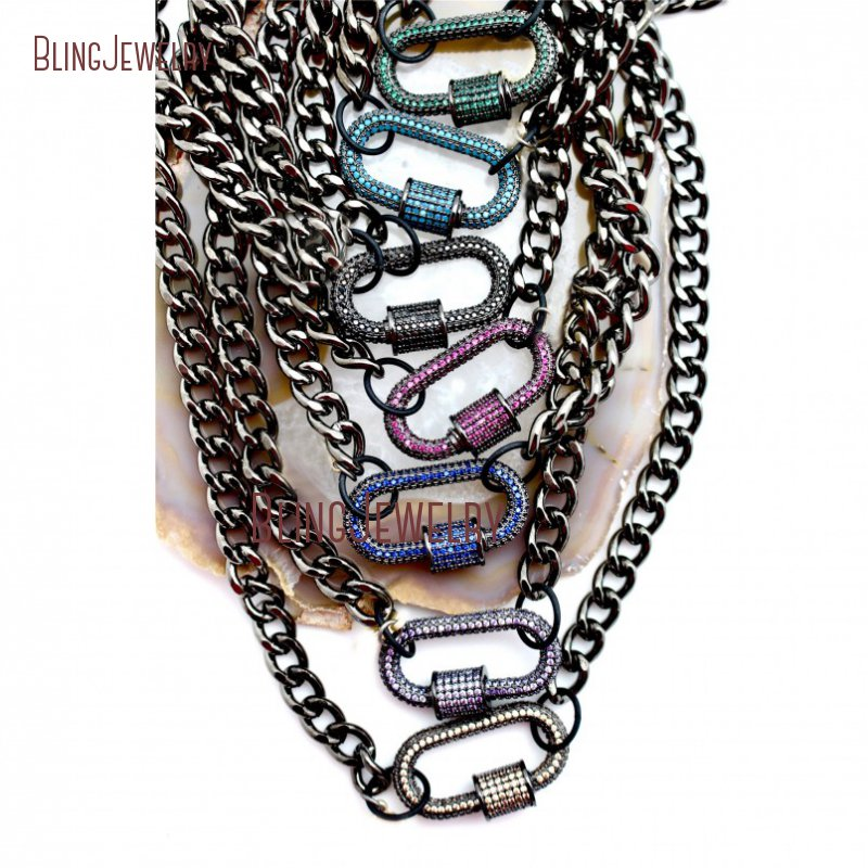 Micro Pave Screw Clasp Carabiner Lock Necklace Gunmetal Chain Necklace NM26353