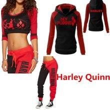 Suicide Squad Harley Quinn Delle Signore Cosplay Costumi Felpe Felpe T-Shirt Top Pantaloni Jogging Palestra di Sport Pantaloni Tuta