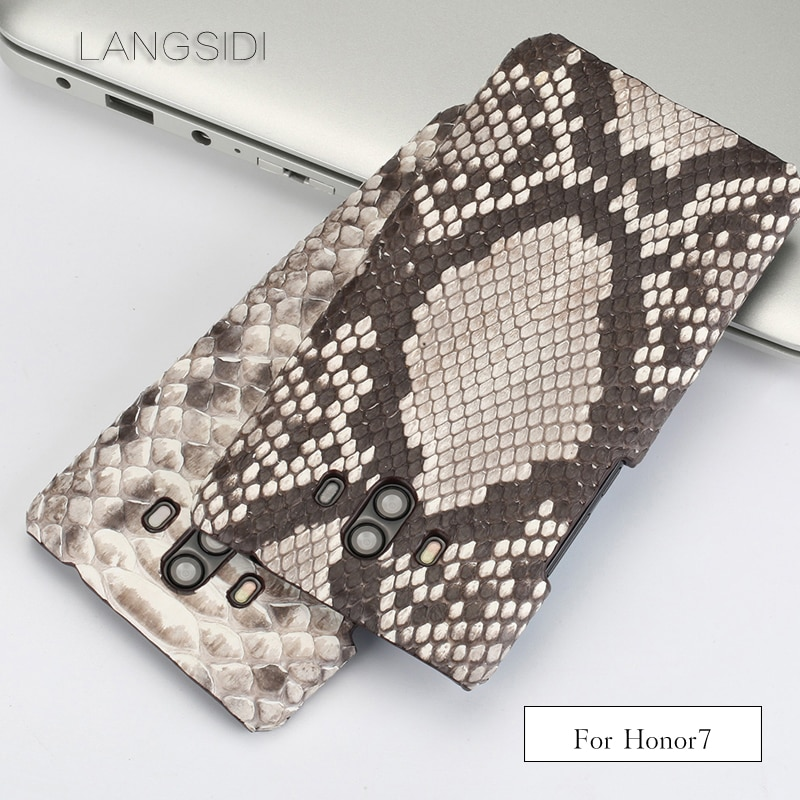 Wangcangli para Huawei Honor 7 de lujo hecho a mano de piel de pitón real de cuero teléfono caso