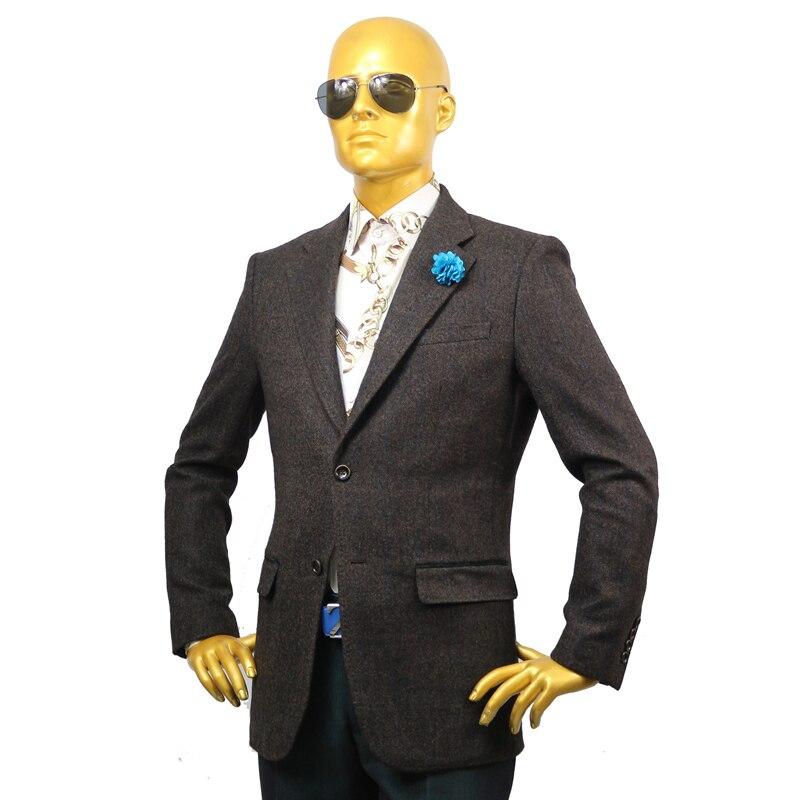 Trajes formales para negocios personalizados hechos a medida para hombres artículos de boda 2 piezas chaqueta abrigo pantalón café oscuro plaid lana invierno