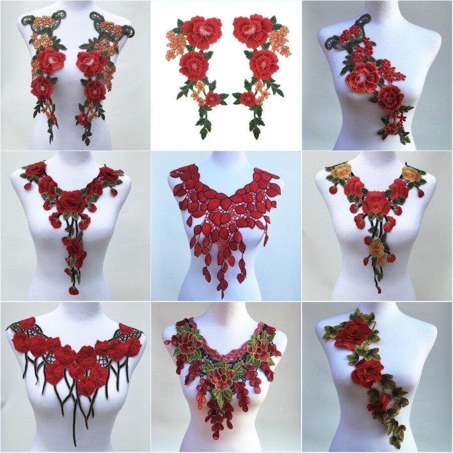Кружевное платье с аппликацией Venise, 1 шт., красный цвет, вышивка, отделка, «сделай сам» на декольте, воротник, аксессуары для костюма