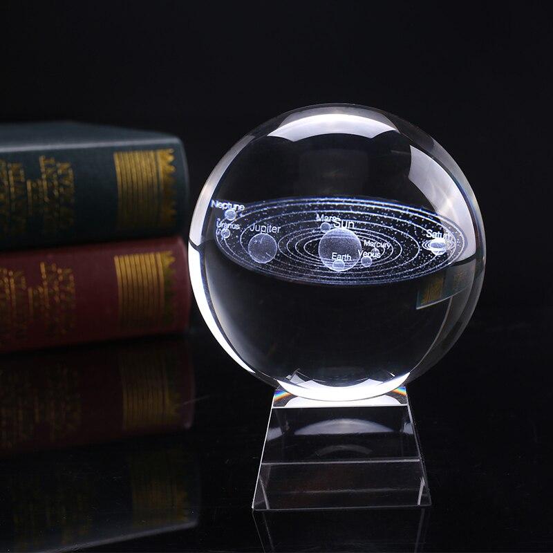 8 cm Diameter Miniatuur Zonnestelsel Model Crystal Ball Laser Gegraveerd Planeet Glas Ambacht Home Decoratie Ornament Sphere Gift