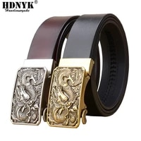 famous brand china dragon buckle belt men cowskin genuine luxury leather mens belts for menstrap male metal automatic buckle