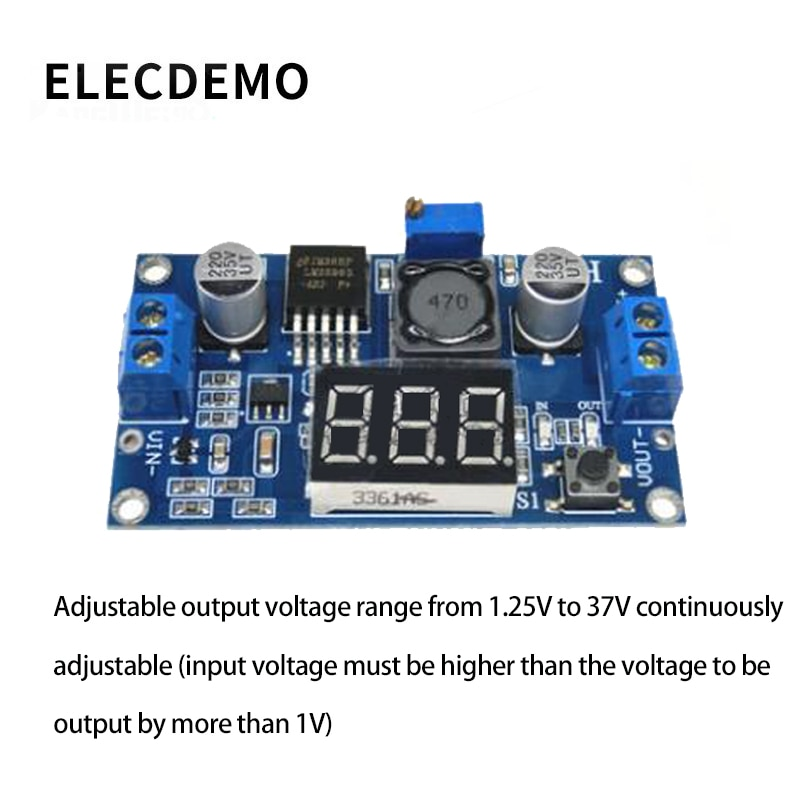 New DC-DC adjustable power supply module LM2596 voltage regulator module with voltmeter display function demo board недорого