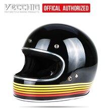 Casque de moto de course VINTAGE VECCHIO intégral casque de Motocross moto Casco Capacete Jet rétro en FIBER de verre