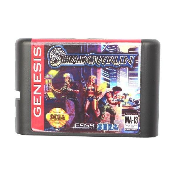 Sega MD game card - Shadow Run for 16 bit Sega MD game Cartridge Megadrive Genesis system