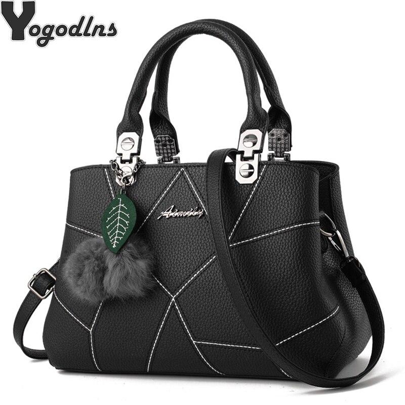 Women Handbags Casual Large Capacity Crossbody Bag Hairball Ornaments TOP-handle Purse Tote Ladie leaves PU Shoulder Bags Bolso