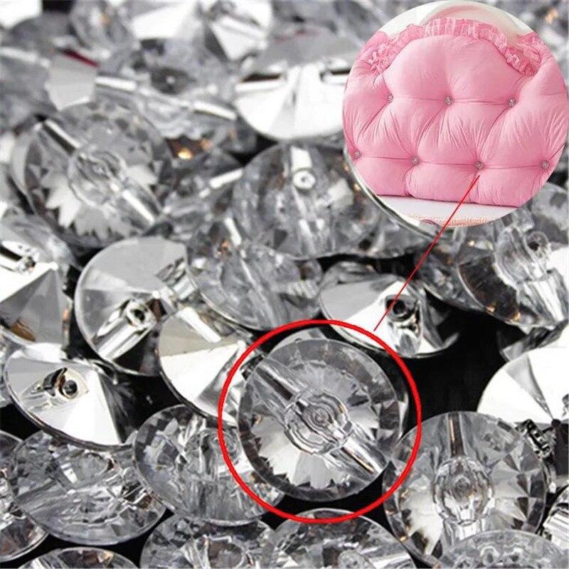 Botones de cristal blanco transparente de 18/20mm para coser diamantes de imitación, botones redondos de acrílico para coser piedras de pedrería para ropa