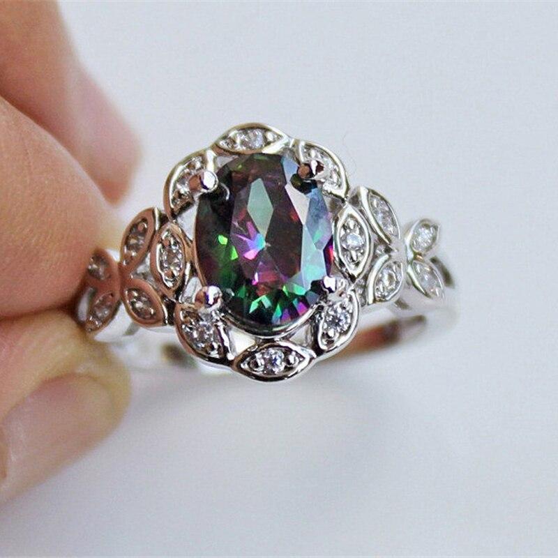 Двойное яркое цветное кольцо с овальным цирконием, градиентный кристалл, ажурная бабочка, белый золотой цвет, кольцо для женщин, подарок, модные ювелирные изделия KAR243