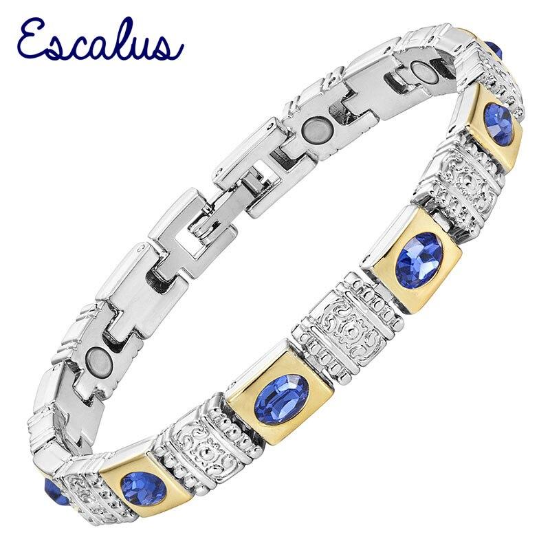 Pulsera Escalus de moda azul real con piedras de ojo de gato magnéticas, pulsera de Color plateado para mujeres que usan pulseras encantadoras
