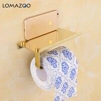 Porte-papier hygienique mural concis  fixation daccessoires de salle de bains  supports de rouleau de papier en acier inoxydable avec etagere pour telephone