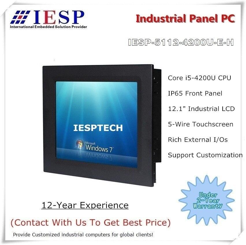 12 pulgadas panel Industrial PC Core i5-4200U CPU 4 GB DDR3 500 GB HDD LCD de resolución de 1024*768, proporciona servicios de diseño personalizados