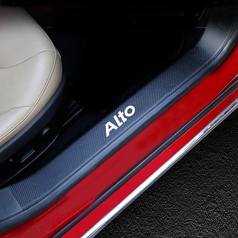 4PCs Door Threshold Guard For Suzuki  Alto Car Door Sill Scuff Plate Protector Carbon Fiber Pu leath
