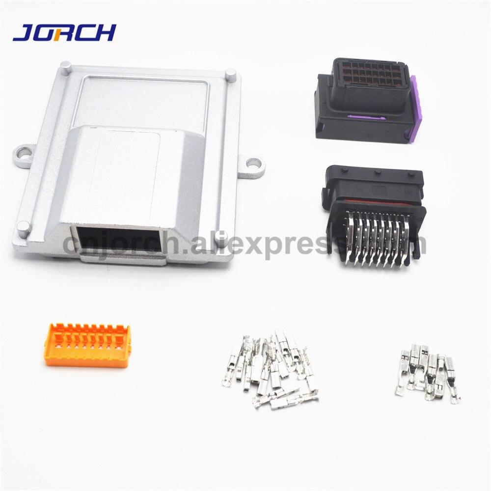 1 комплект 24 pin way A6 алюминиевая автомобильная коробка с одним отверстием для honda ecu с подходящим разъемом