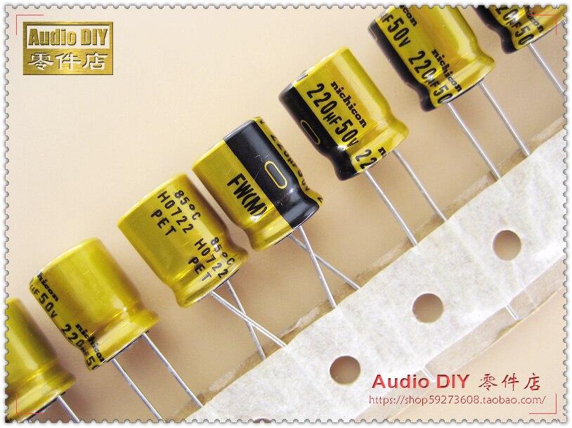 2019 venda quente 10 pces/30 pces nichicon série fw 220 uf/50 v capacitores eletrolíticos para áudio frete grátis