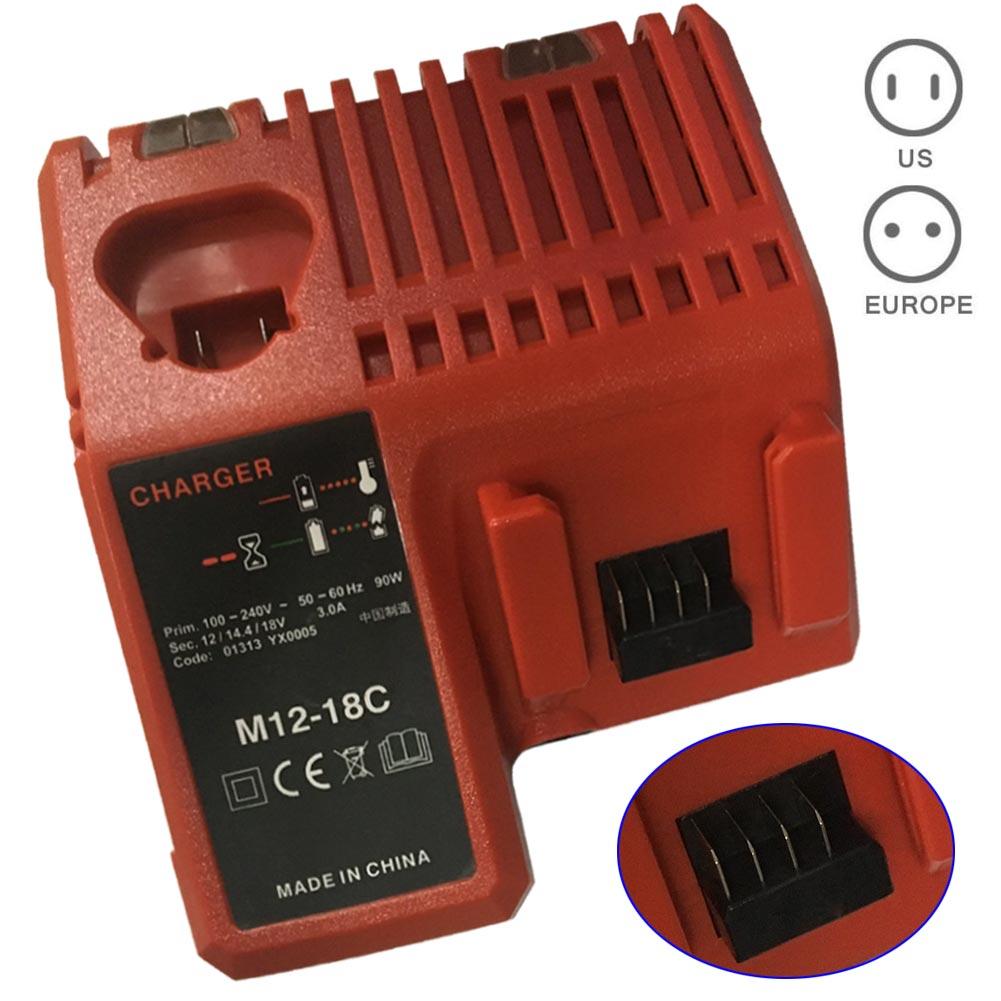 Carregador de Bateria para Milwaukee Li-ion 48-11-1828 48-11-2401 48-11-2402-drop 110-240v M12 M18 48-11-1815