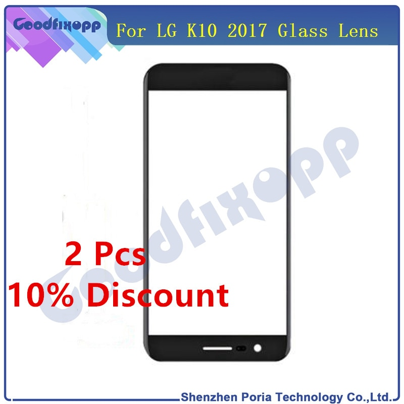 Pantalla táctil frontal lente de cristal exterior para LG K10 2017 X400 M250 M250N reemplazo LCD pantalla táctil frontal Panel piezas de repuesto