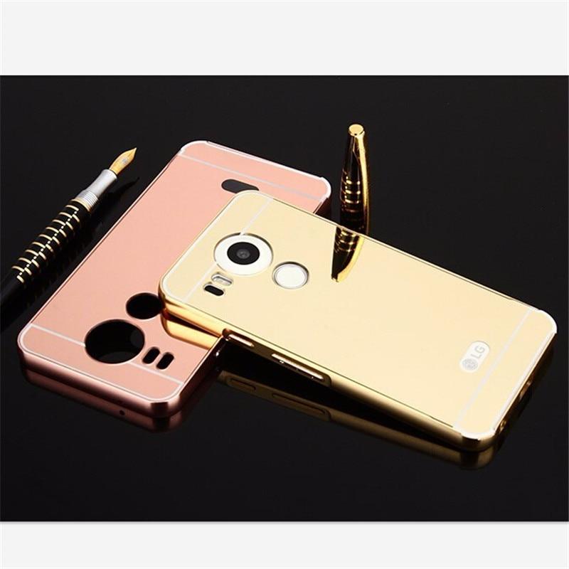 For LG Nexus 5X Case Luxury Rose Gold Mirror Metal Aluminum Back Cover Case For Google Nexus 5x Nexus5X H798 H791