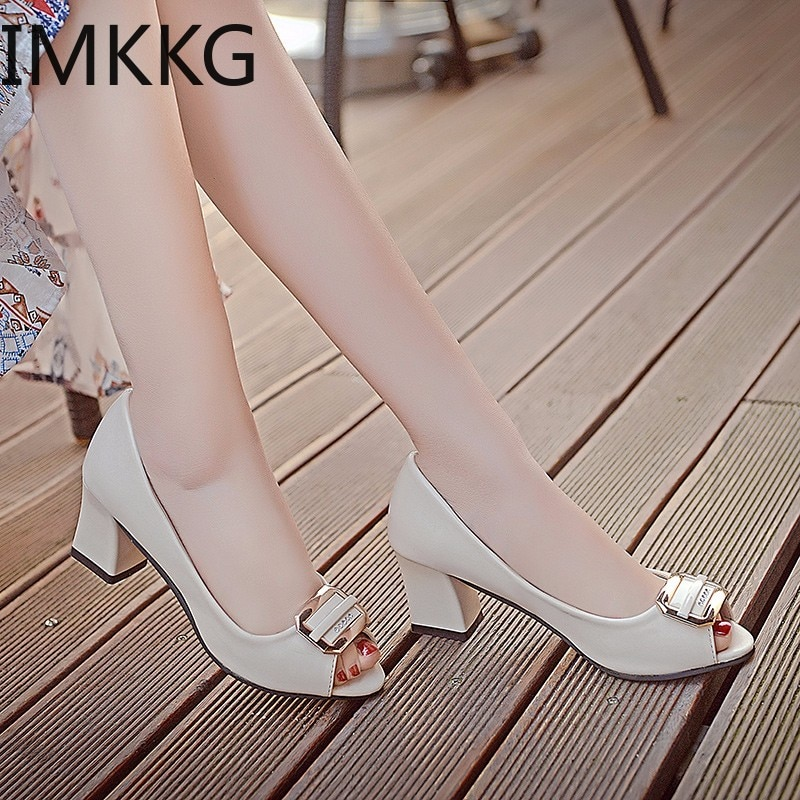 Sandalias de verano para Mujer, Zapatos de tacón alto con punta abierta, Zapatos con agujeros para Mujer, Zapatos de vestir para Mujer, Zapatos de oficina para Mujer Q00012