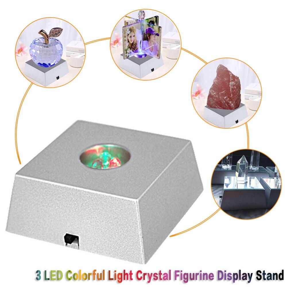 3 led base de exibição de pedra colorido mudando luz torre de cristal luz decoração estatueta expositor sem baterias
