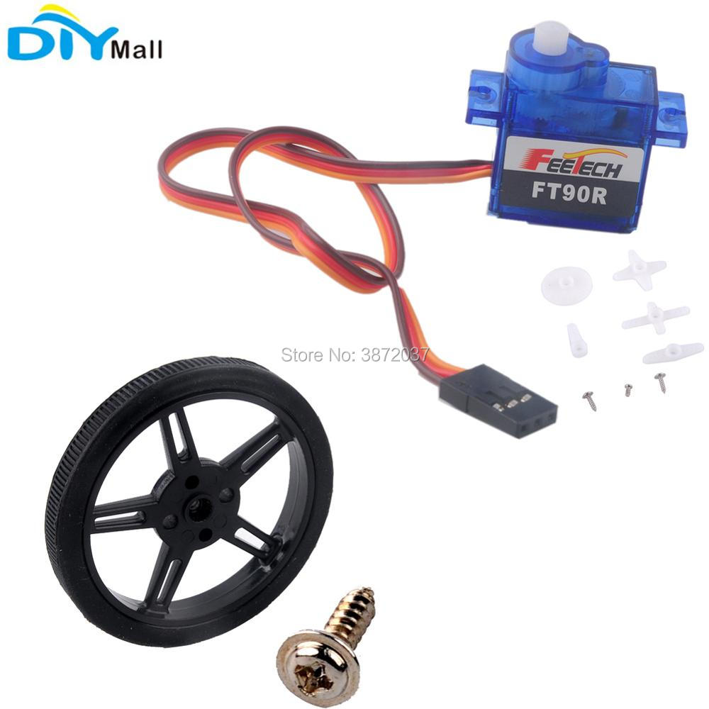 10pcs/lot Feetech FT90R Micro Digital Servo 360 Degree Continuous Rotation Plastic Wheel for Arduino Smart Car Robot