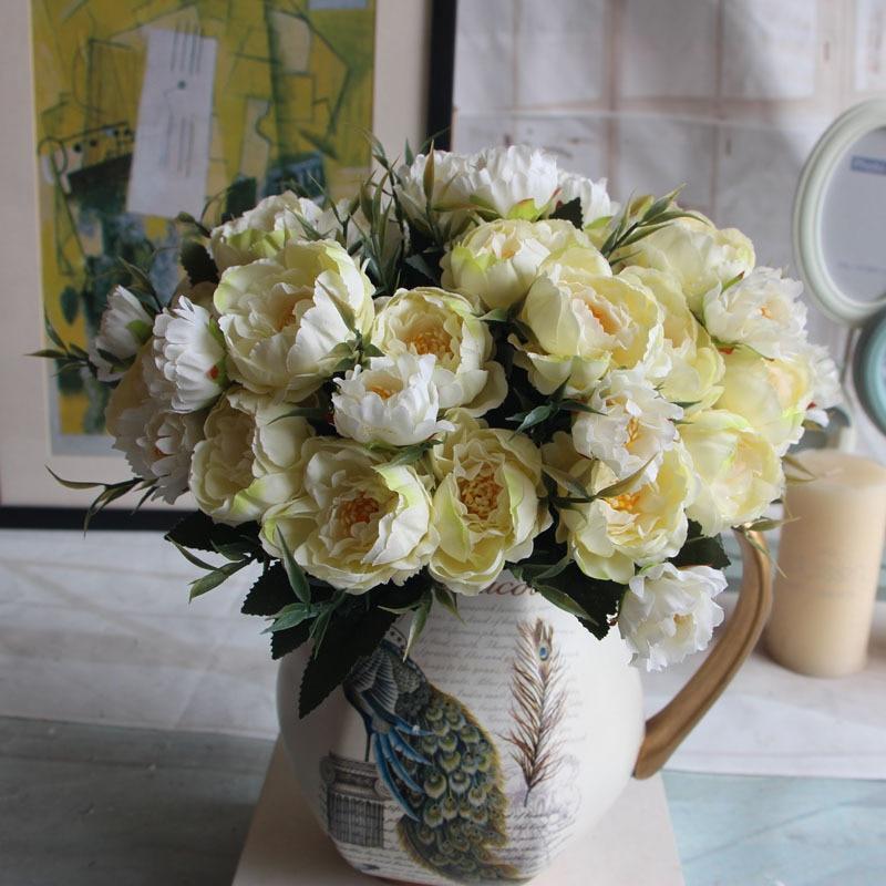5 colores 1 grupo europeo Artificial flor 6 cabezas falso peonía boda Casa de fiesta decorativa