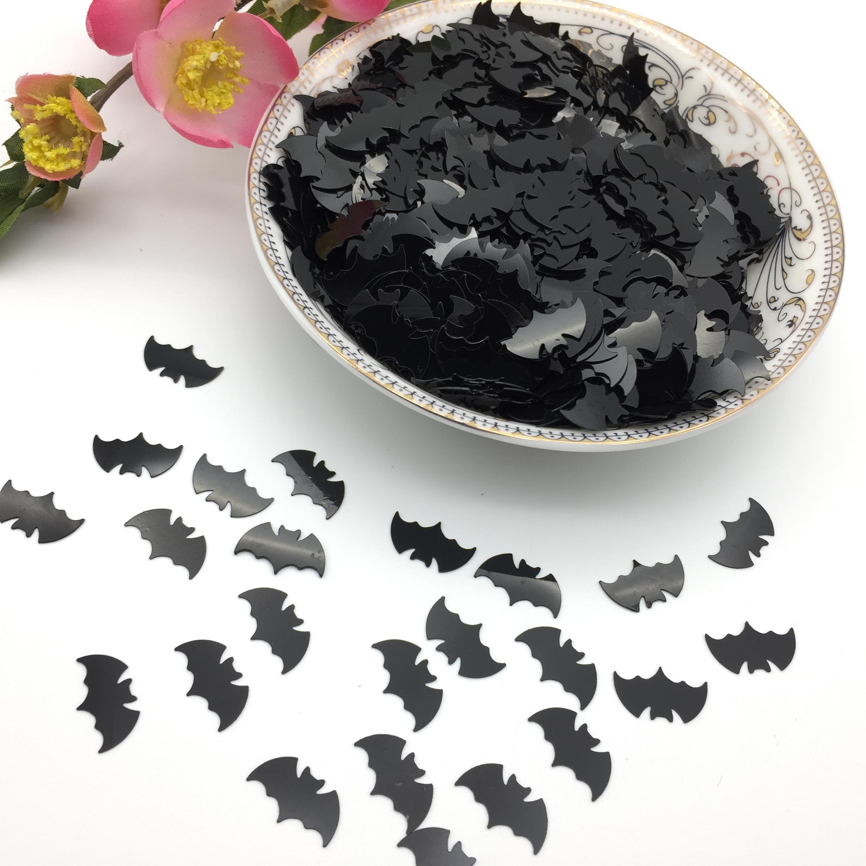 50 g/lote 15mm negro Halloween Bat lentejuelas PVC plana Paillette manualidades para coser Pascua DIY accesorios sin agujero