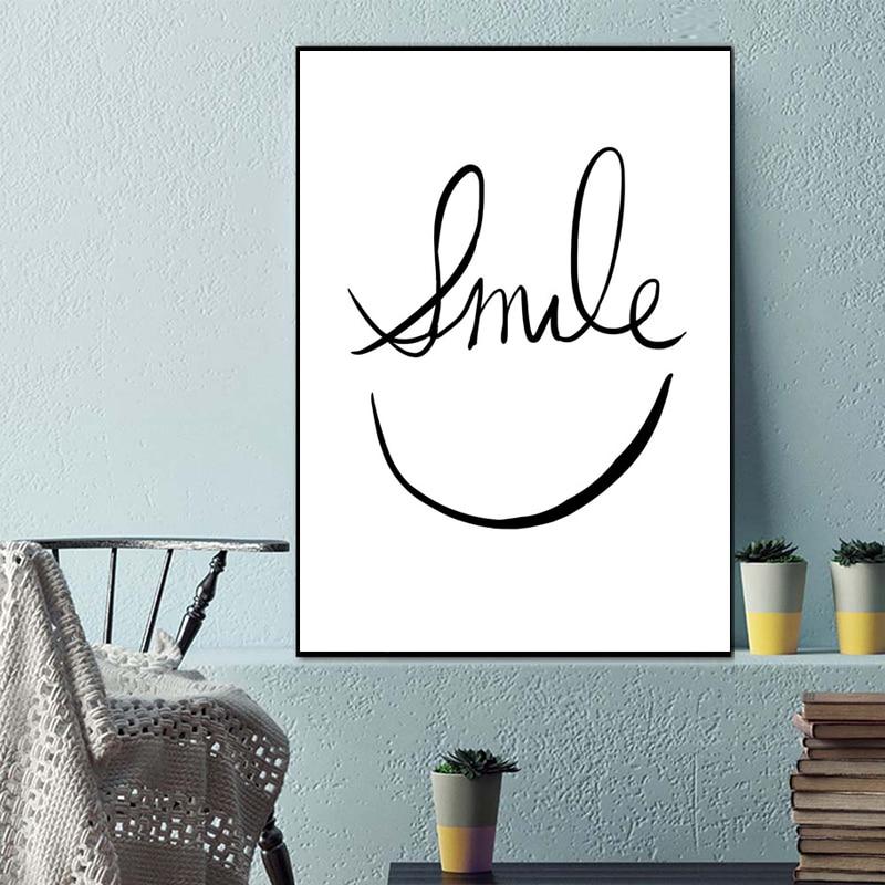 Arte minimalista motivacional negro blanco cara sonriente lienzo cartel cuadro Cuadro abstracto moderno hogar Oficina habitación Decoración