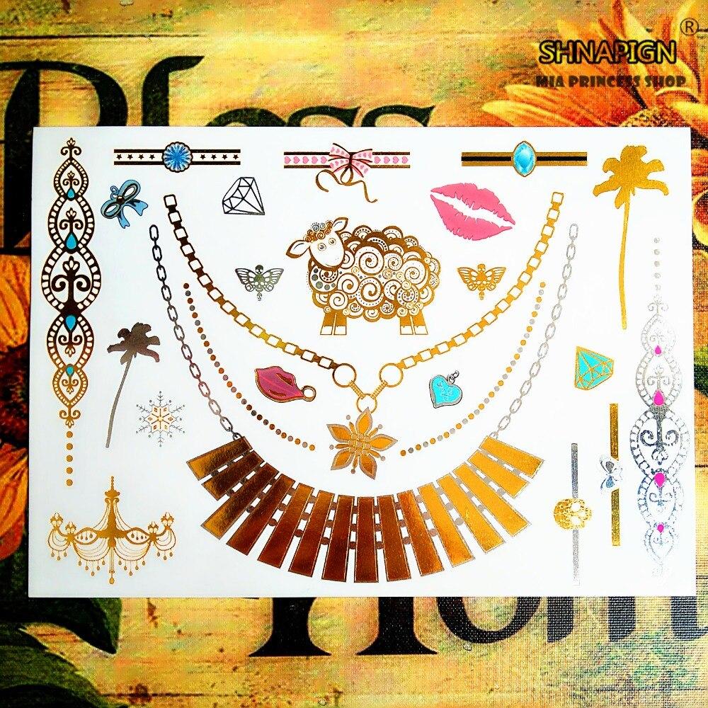 Shnasign 24 Estilo tatuaje temporal arte corporal, grandes diseños de ovejas doradas, tatuaje Flash pegatina mantener 3-5 días impermeable 21*15cm
