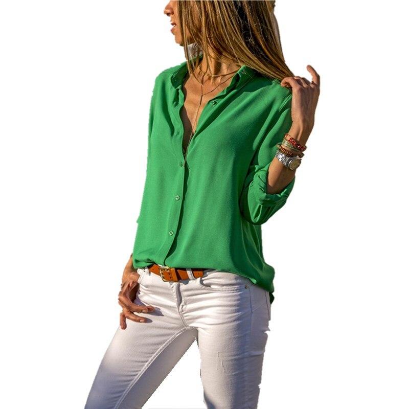 Fashion Women Blouse 2019 Tops Blouses Elegant Long Sleeve V Neck Button Casual Chiffon Plus Size 5xl