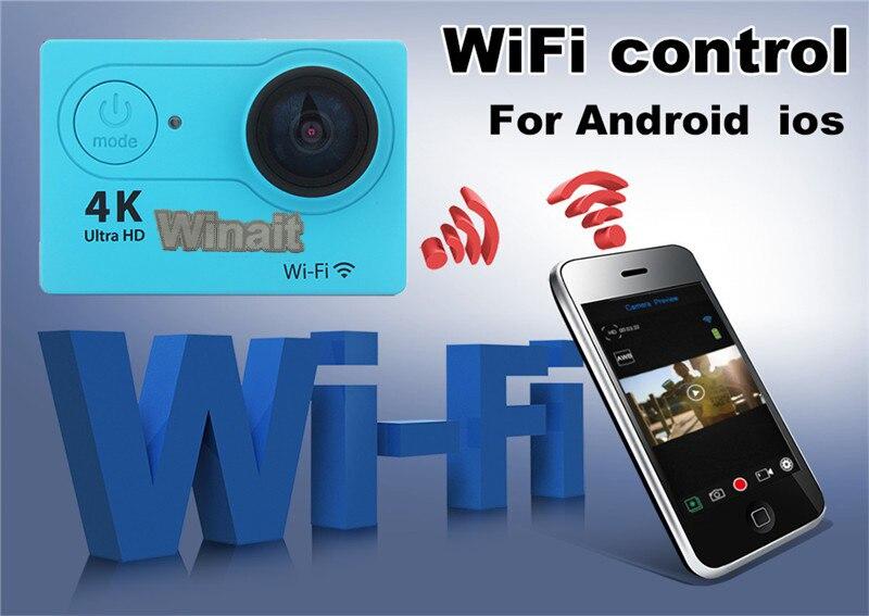 Mini cámara de deporte de acción Winait portátil 4k 25fps 30M bajo el agua incorporado WIFI tarjeta de memoria TF Max a 32GB