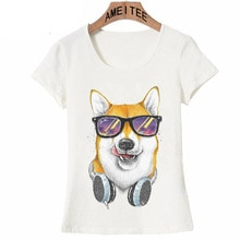 Siba inu w okularach t-shirt z nadrukiem moda letnia damska t-shirt damskie bluzki Hipster fajny motyw psa t-shirt damski Tees