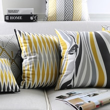 Modern Grey Geometric Cushion Cover Zebra Aztec Stripes Throw Pillow Case Gray Yellow Decorative Velvet Lumbar Cushions Cases