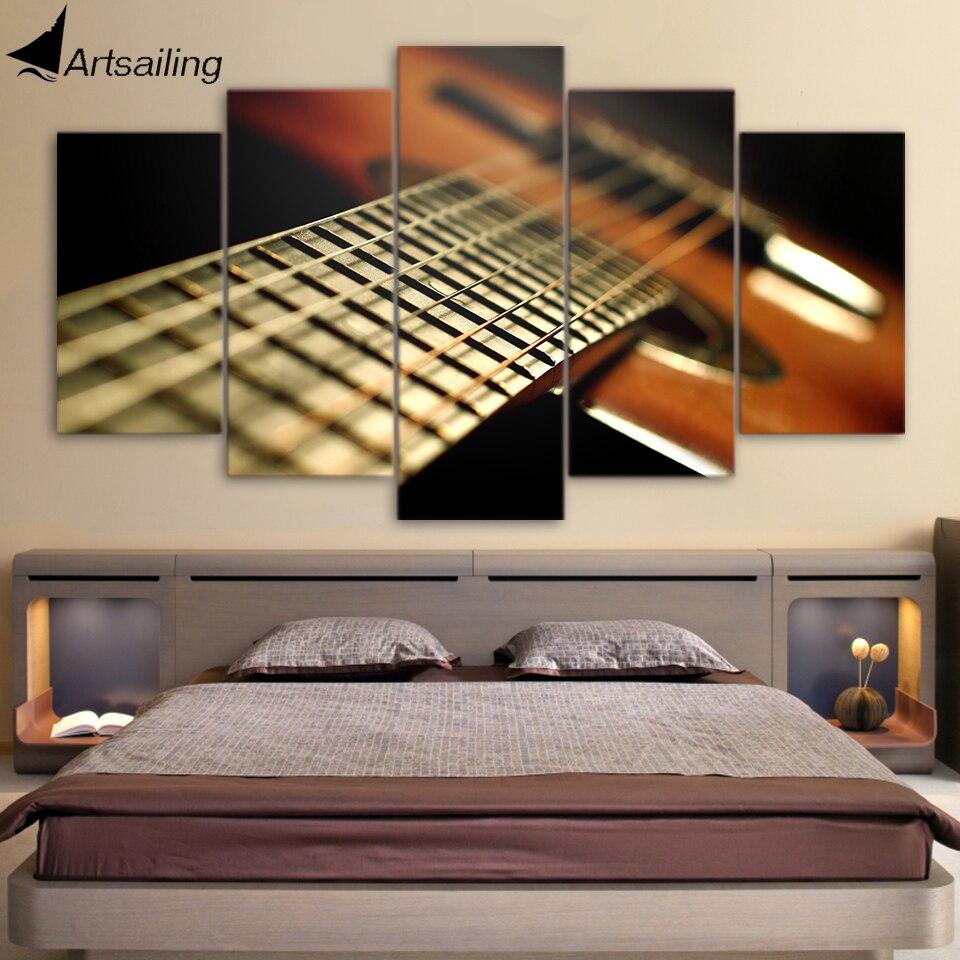 Pintura de instrumento musical impresa 5 piezas de arte de lona HD imágenes de pared para marcos de sala de estar envío gratis CU-1613A