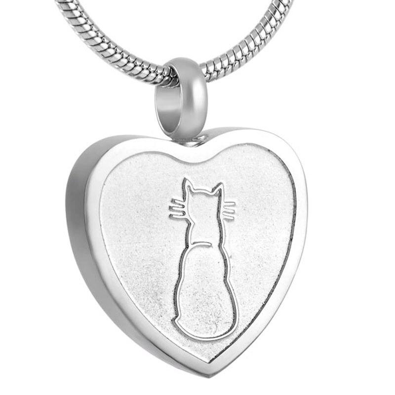 IJD8253 collar de urna de incineración para cenizas colgante Acero inoxidable urna conmemorativa de recuerdo collar Gato Funeral de la joyería