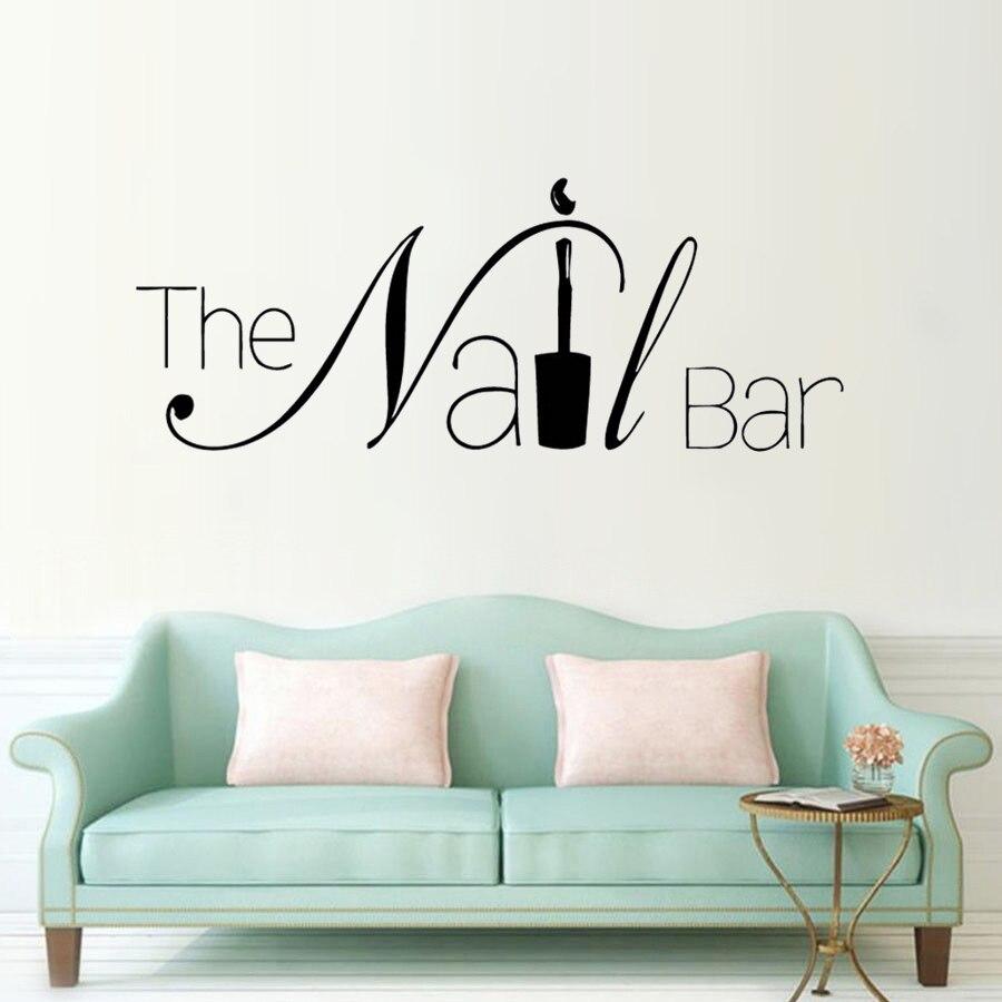 El logotipo de la barra de uñas adhesivo para ventana o pared diseño de manicura pared calcomanía extraíble uña Póster Artístico de pared salón de belleza ventana decoración AY1619