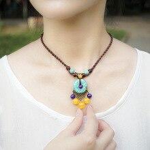 Collier de pierres ethniques de vent chinois vintage de mode, nouveau collier de Chrysoprase pourpre dart, collier en laiton antique fait main