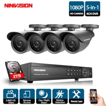 NINIVISION 4CH CCTV System 1080P HDMI AHD CCTV DVR 4PCS 2.0 MP IR Outdoor Security Camera 3000TVL Camera Surveillance Kit