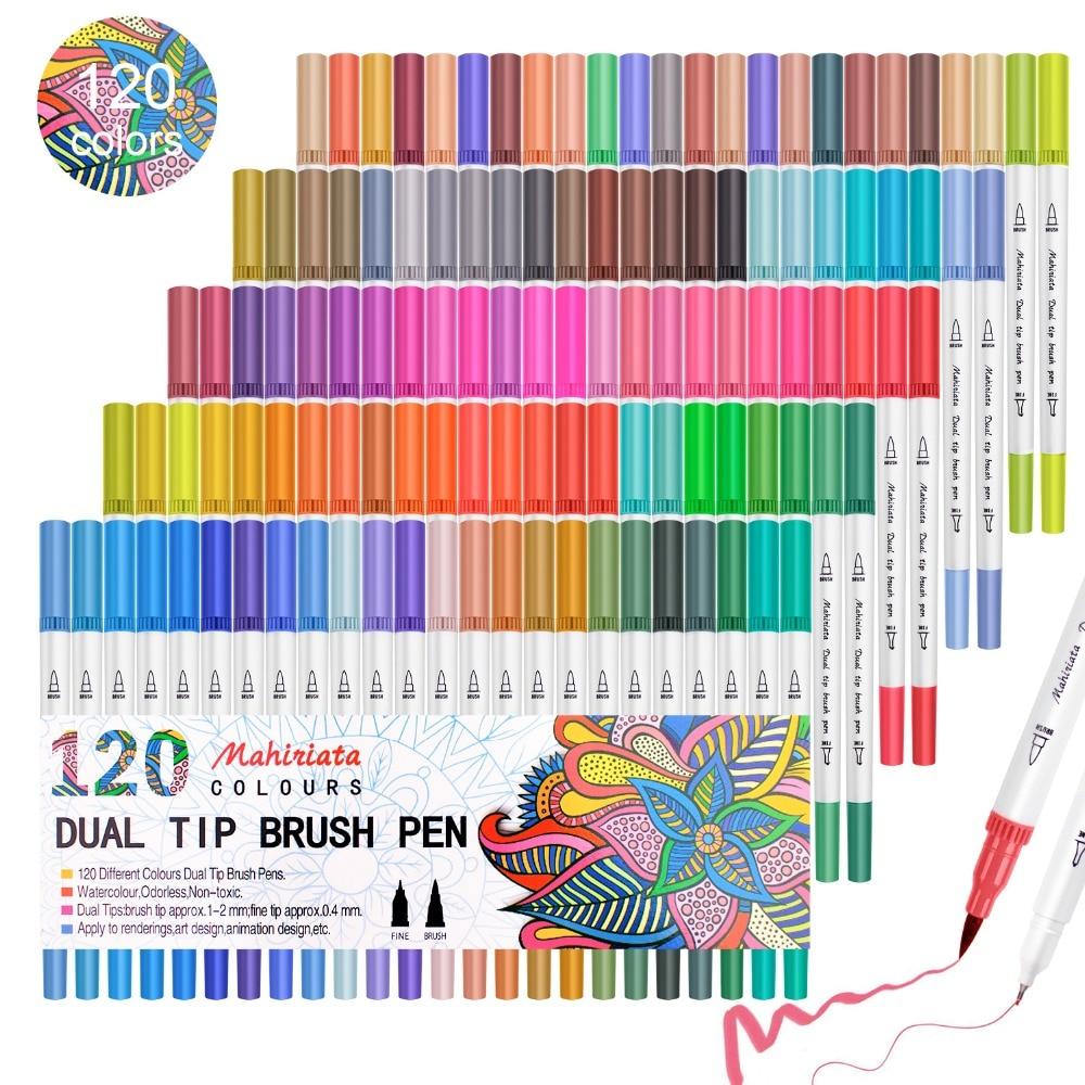 Pincel de acuarelas 36 48 60 72 100 120 marcadores de colores pincel de Punta doble pincel fineliner rotulador de arte caligrafía/bolígrafos de viñetas