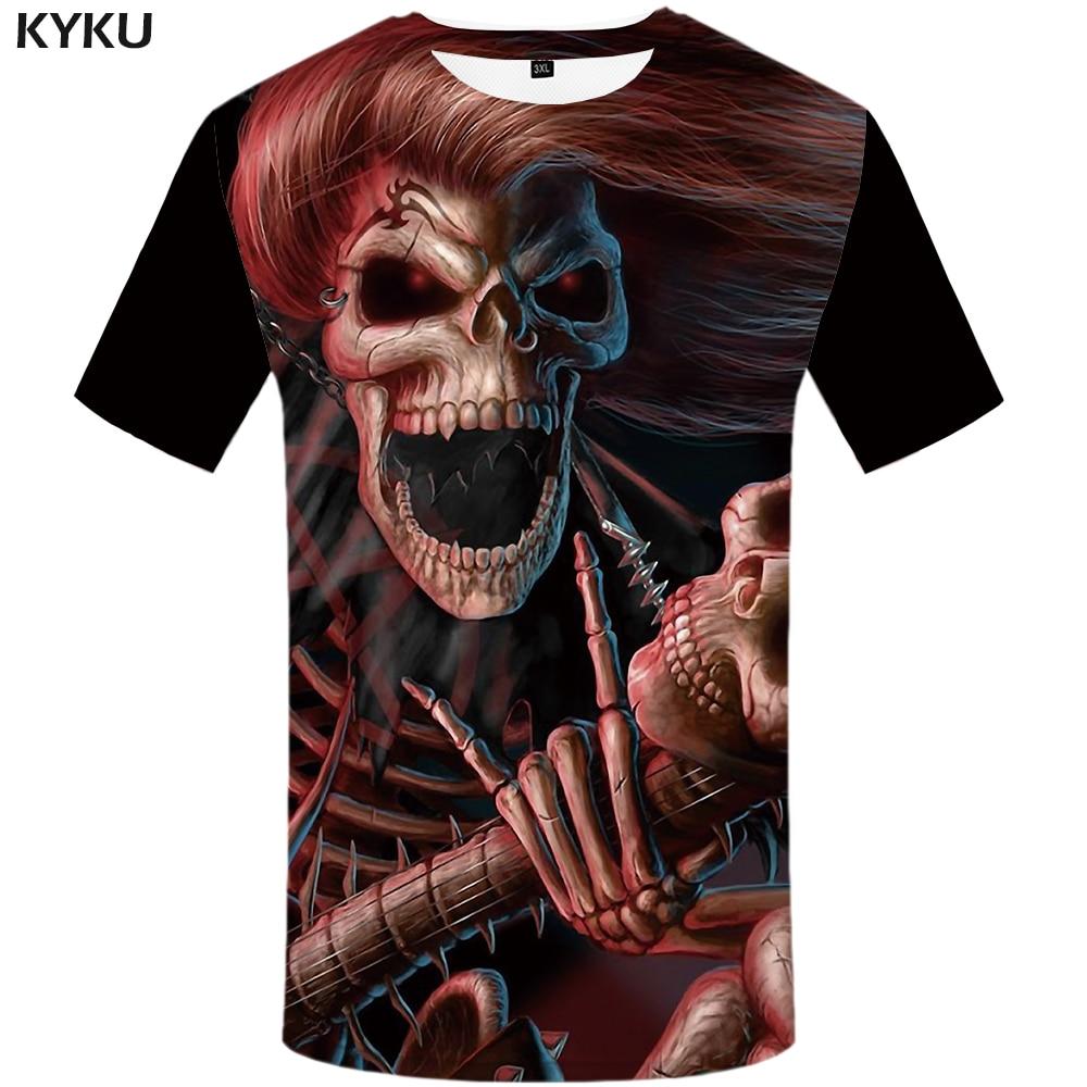 Marca kyku, camiseta de calavera para mujer, camisetas Punk de talla grande con Diablo, ropa, Tops, ropa para mujer, novedad de verano 2018 Sexy