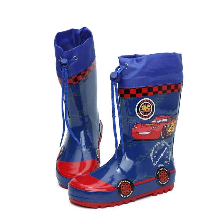 Zapatos de lluvia de goma con dibujos para niños a la moda, zapatos impermeables antideslizantes, zapatos de agua para estudiantes de escuela primaria azul, zapatillas de bebé
