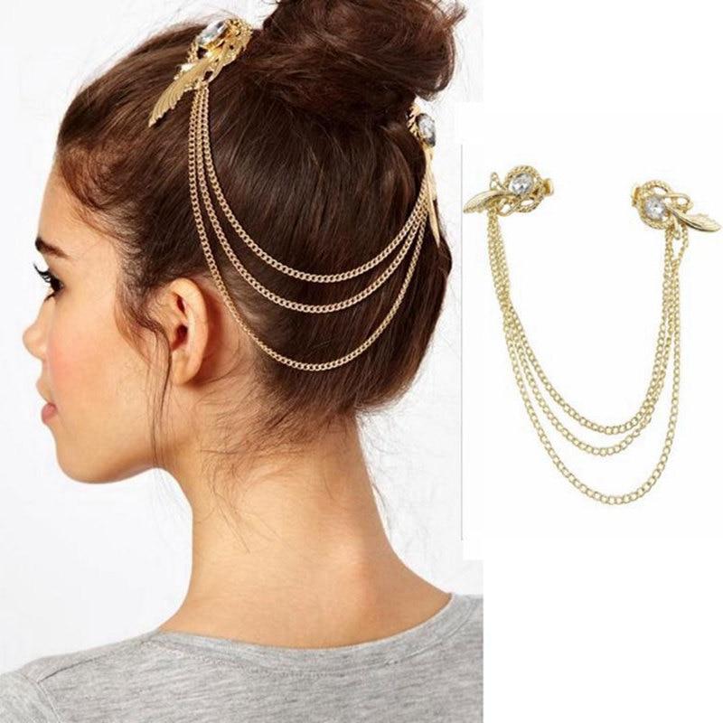 Hair Clip Pins Women Gold plating Tassel Headbands Head Band Jewelry Headpiece Tone Crystal Feather Cuff Chain Hair Clip