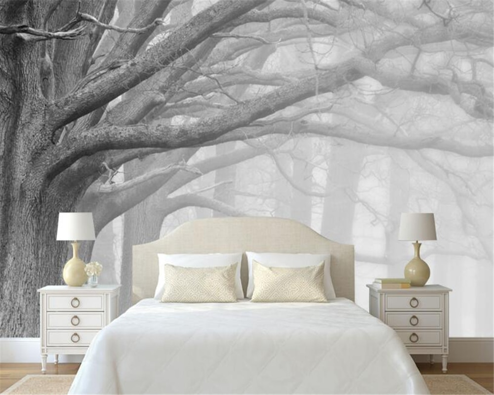 Beibehang 3 d papel de parede sala estar quarto murais moderno preto e branco floresta árvore arte tv murais para paredes 3 d