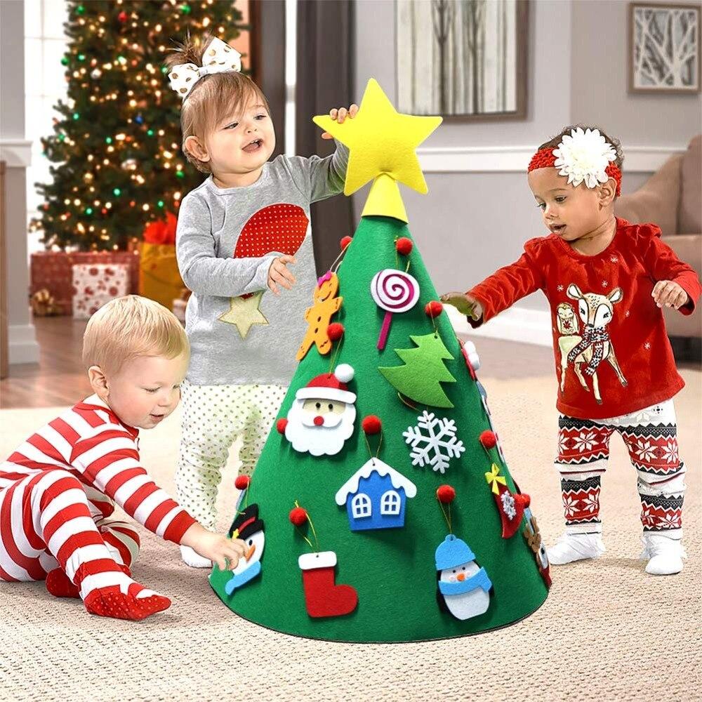 OurWarm DIY Felt Christmas Tree Snowman with Ornaments Fake Christmas Tree Kids Toys Christmas Party Decoration New Year 2019