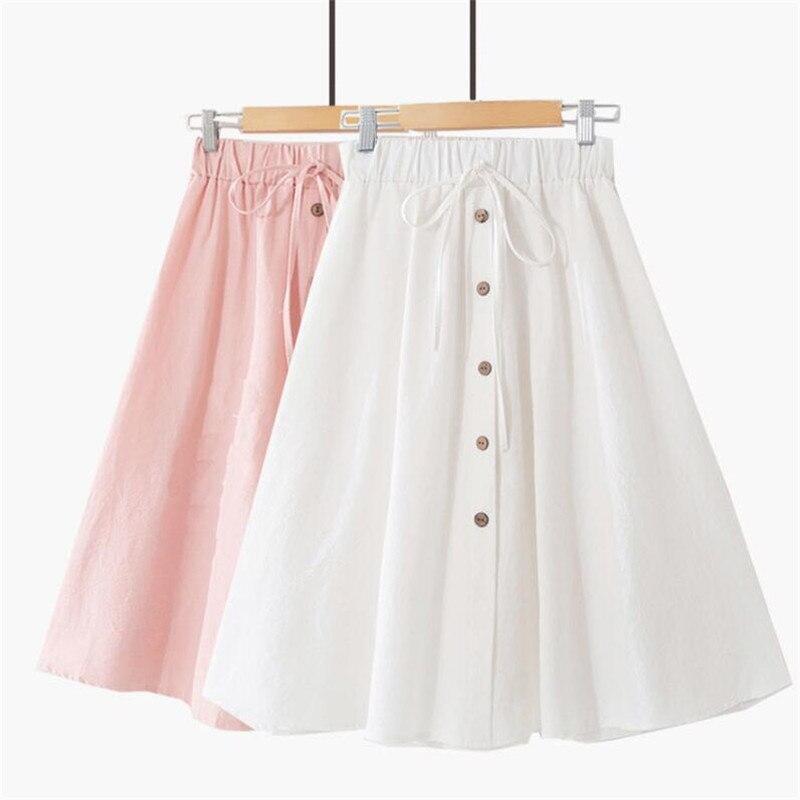 Coton lin Bow jupe taille haute a-ligne jupes femmes 2020 été nouveautés simple boutons solide jupe grande taille 5XL 6XL 7XL