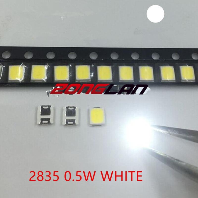2835 LED 0.5W Blanc SMD/SMT PLCC-2 2835 Blanc 150Ma 50-65lm 6000-6500K 3528 diodes Haute Puissance LED Ultra Lumineux SMD LED 100 pièces